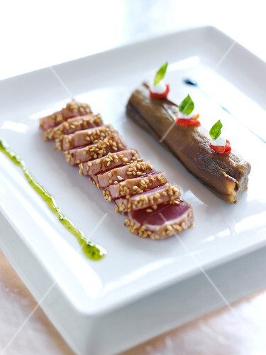 Half-cooked Filet mignon with sesame seed crust and eggplant Mille-feuille