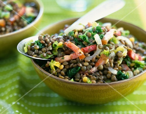Lentils cooked with diced bacon and lettuce