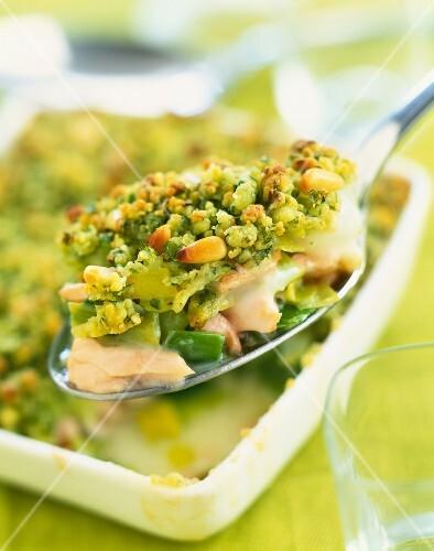 Salmon and leek savoury crumble
