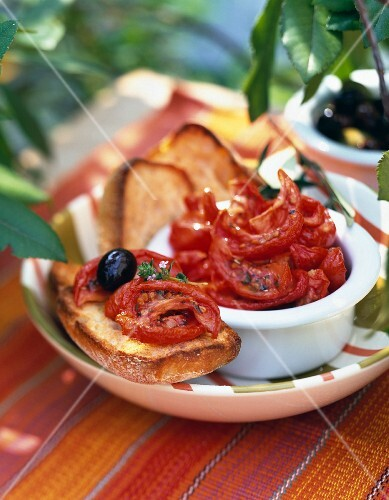 Confit tomatoes on toast