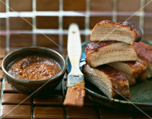 Pork spare ribs with barbecue sauce