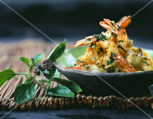 Pan-fried shrimps with chinese basil ,flat parsley and coriander