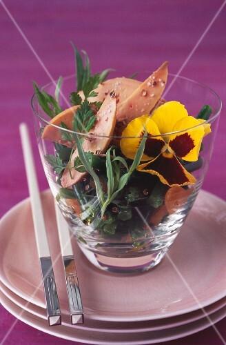 Green bean, foie gras and fresh herb salad