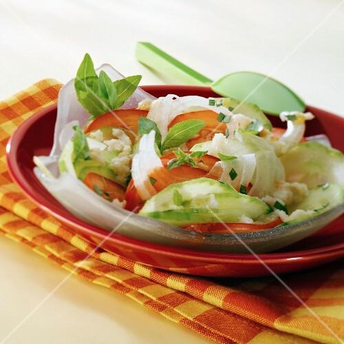Tomato, cucumber and onion salad