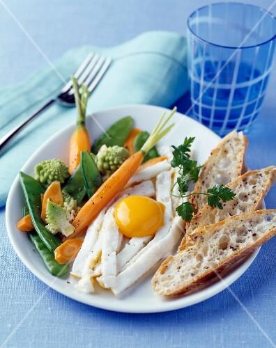 Crisp vegetable and fried egg salad