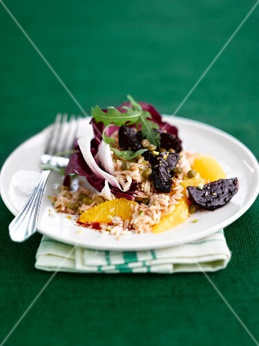 Rice with caramelized beetroots and orange