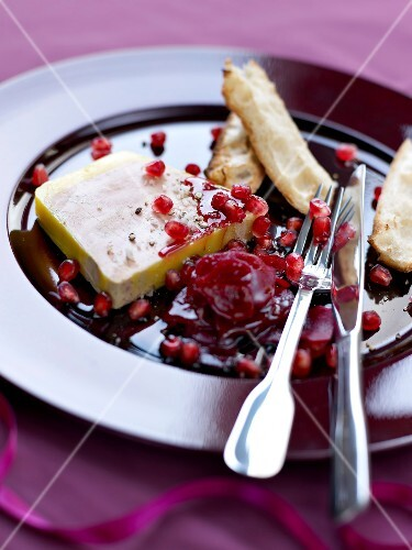Foie gras terrine with pomegranate seeds and beetroot chutney