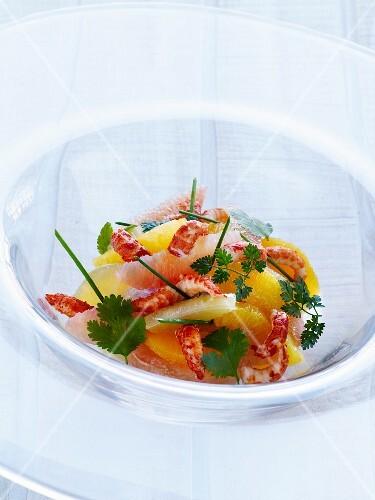 Citrus fruit and crayfish salad