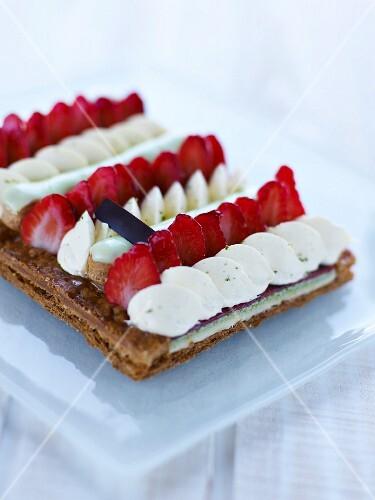 Strawberry and vanilla cream flaky pastry tart