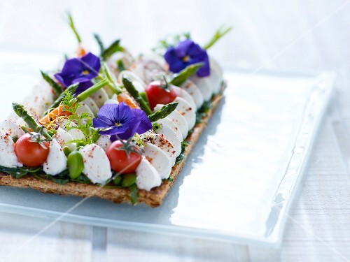 Fromage frais,spring vegetable and nasturtium tart
