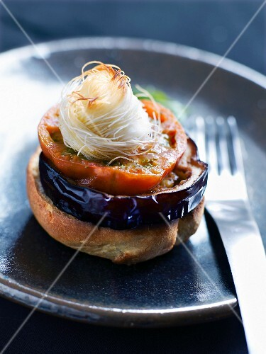 Caramelized eggplant Mille-feuille topped with crunchy mozzarella