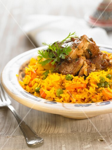 Saffron rice with lamb