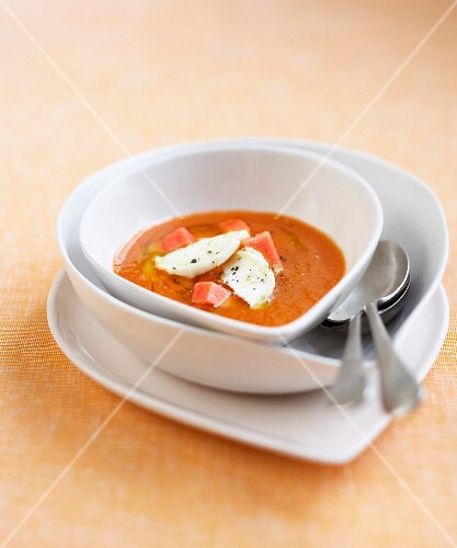 Chilled tomato and watermelon soup