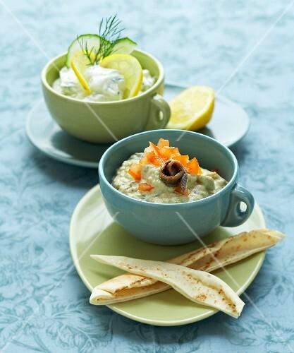 Eggplant caviar and tzatziki