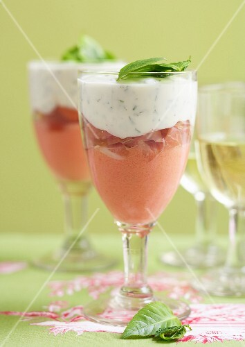 Two mousse and raw ham Verrine