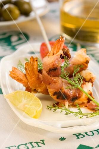 Dublin Bay prawn and bacon brochette