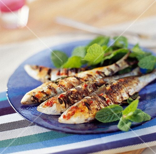 Grilled sardines with harissa and fresh mint