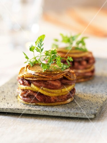 Andouillette and pear Mille-feuille