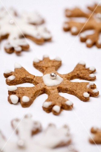Snowflake-shaped shortbread cookies