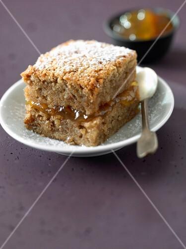 Soft walnut cake with marmelade filling