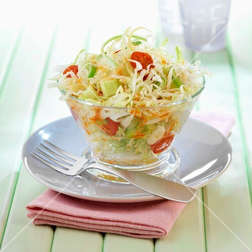 Cabbage,tomato and cucumber salad