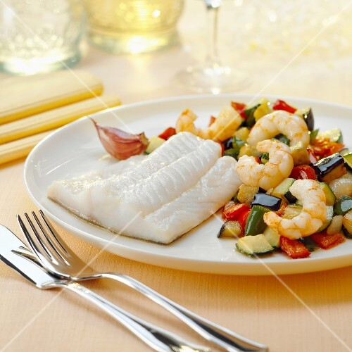 Steam-cooked white fish fillet ,ratatouille with shrimps