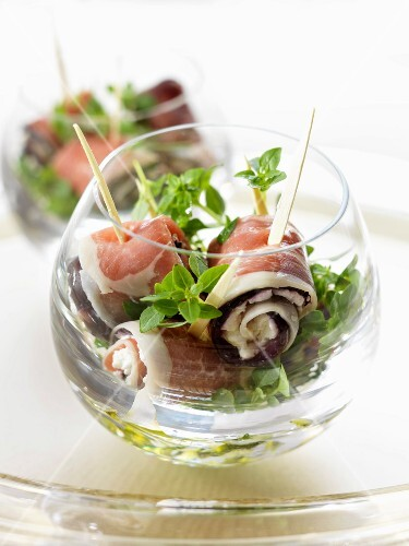 Eggplant and raw ham rolled appetizers