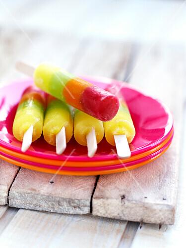 Multicolored ice lollipops