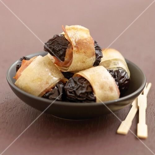 Agen prunes wrapped in filo pastry