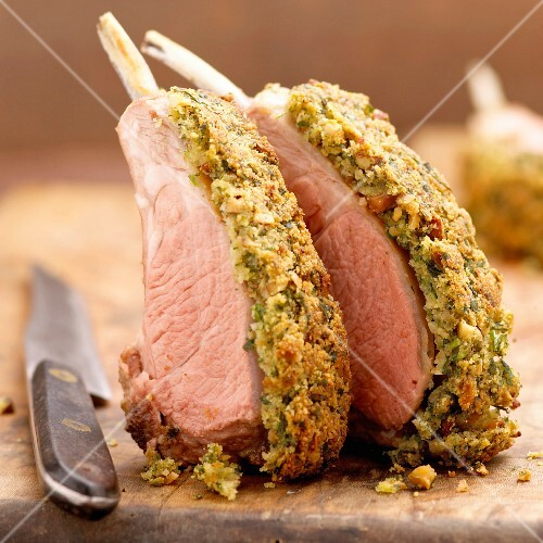 Poitou loin of lamb cooked in herb crust