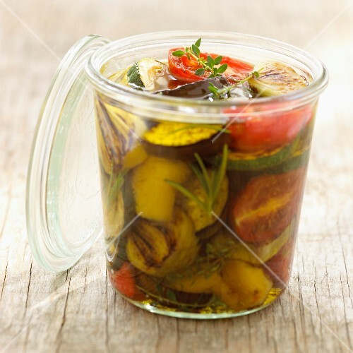 Vegetables marinating in Baux de Provence olive oil