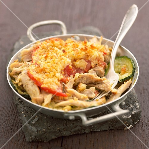 Landes chicken and vegetable savoury crumble