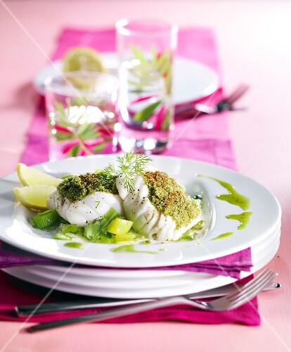 Cod cooked with green tea