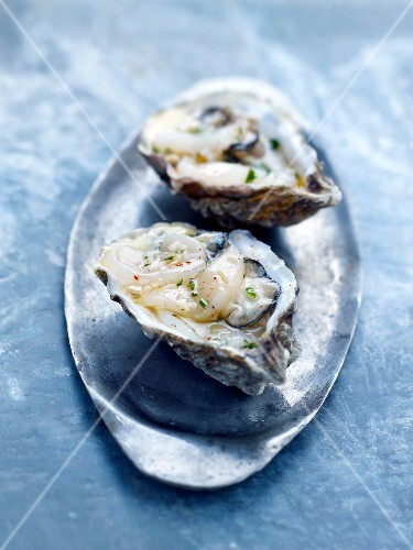 Oysters with french dressing and herbs