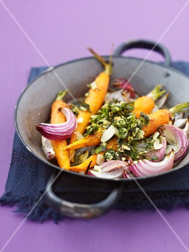 Roast carrots and red onions with herbs