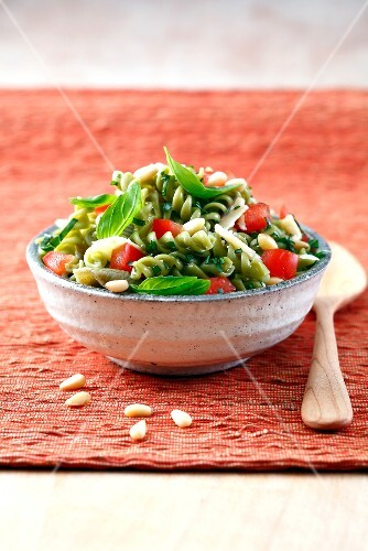 Green pasta and vegetable salad