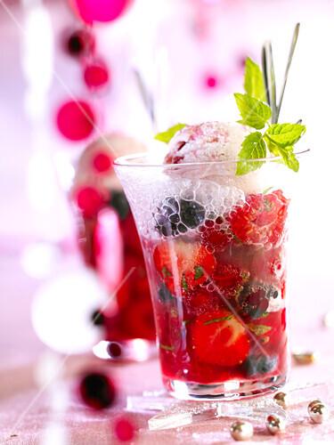 Summer fruit and Champagne dessert