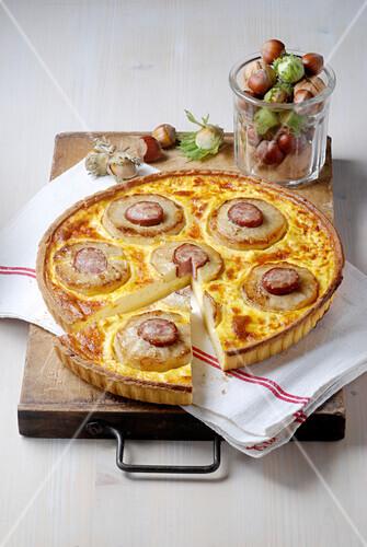 Potato,sausage and cheese quiche