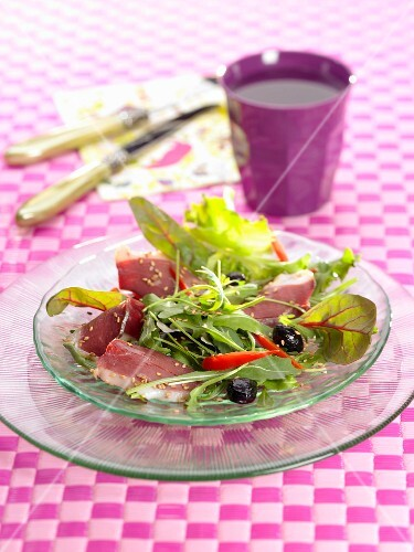 Mixed salad with duck breast