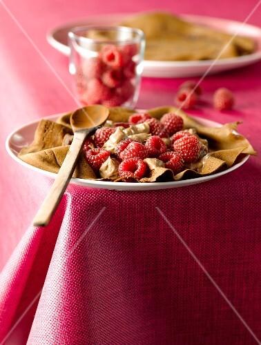 Chocolate pancake with fresh rasberries