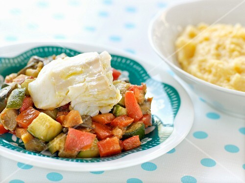 Cod with ratatouille ,polenta