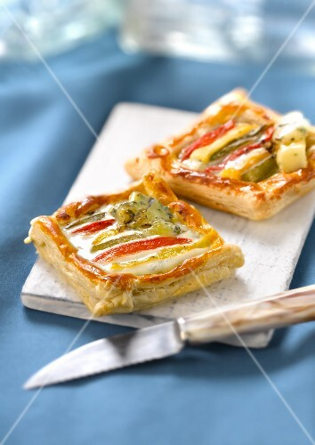 Red,yellow and green pepper and Fourme de Montbrison tartlet