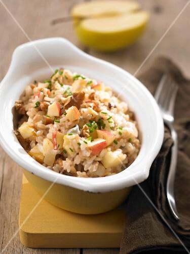 Apple,walnut and gorgonzola risotto