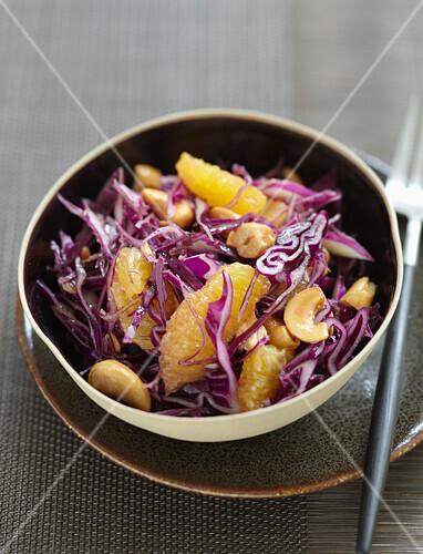 Red cabbage,orange and cashew salad