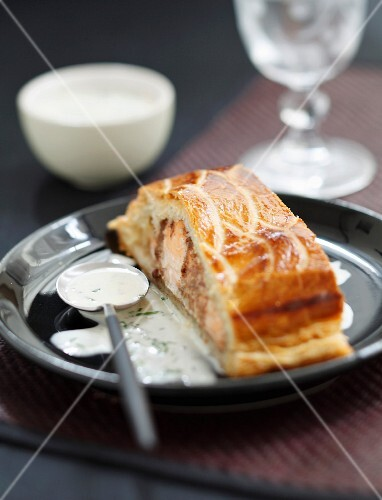 Portion of salmon fillet and Christmas spice pie