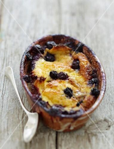 Brioche and blueberry pudding