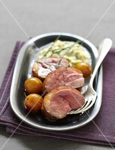 Roast duck breast with mirabelle plums