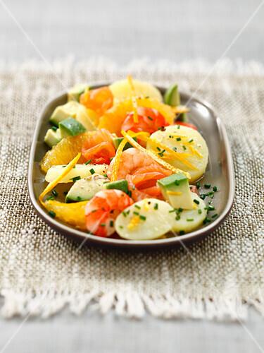 Seafood,potato and orange salad