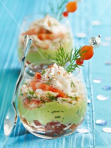 Christmas shrimp and avocado cocktail