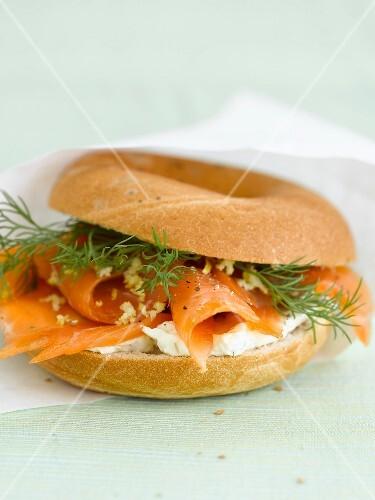 Salmon bagel sandwich